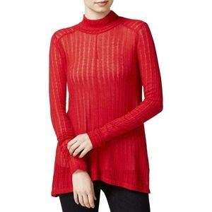 Lucky Brand NWT Linen Blend Ribbed Red Turtleneck